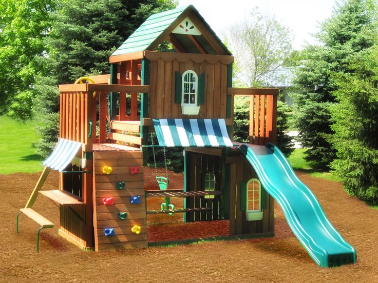 Juneau wood complete play set kit swing n slide wood for Childrens playhouse with slide and swing