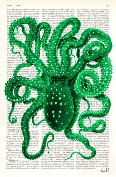 Octopus Art Green Octopus Print on Vintage Dictionary by PRRINT