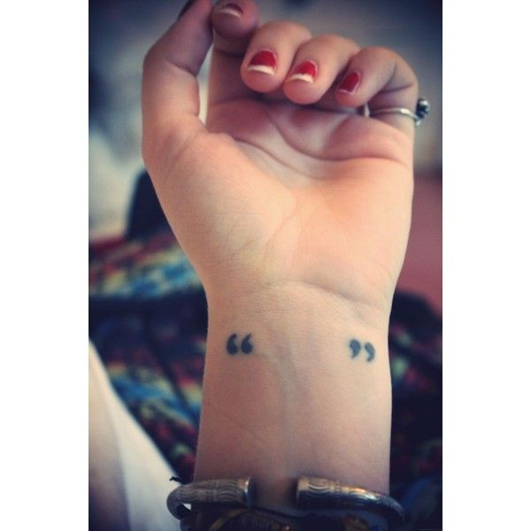 Quotation Marks Tattoo ❤ liked on Polyvore featuring accessories, body art and tattoos