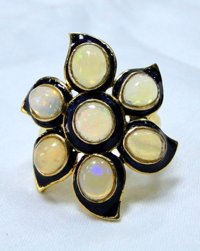 18 K solid gold natural Opals & enamel work ring - tribalexport