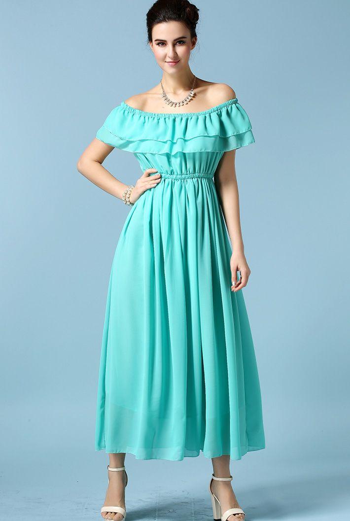 Off-shoulder Flouncing Blue Dress 20.00