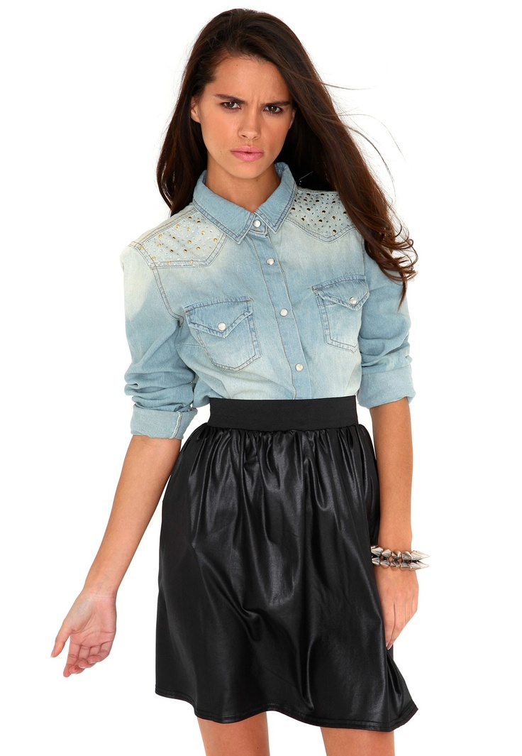 Peggy Stud Shoulder Denim Shirt- Wanted a denim shirt for so long!! Could be the one... #MGWinterWardrobe