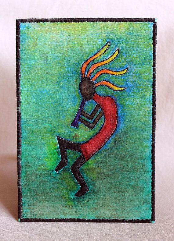 Kokopelli Fabric Postcard Southwest art Native by JPGstudio2536