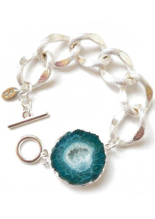 Silver Turquoise Agate Bracelet <3
