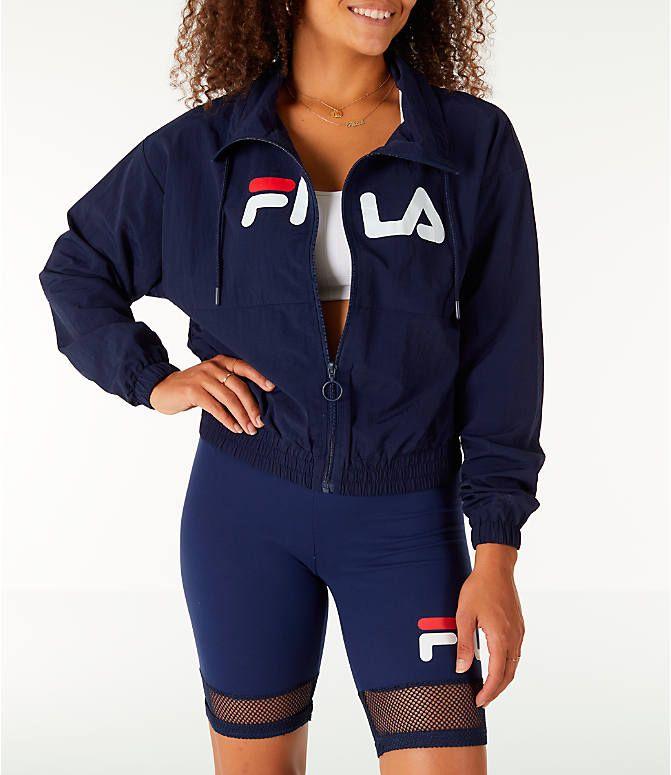 b2c174df Front view of Women's Fila Natalie Full-Zip Wind Jacket in Navy ...