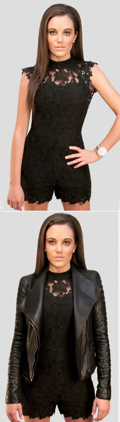 Beautiful black lace romper, open back, with a touch or sequins for added glitz. Add the black leather jacket for an amazing look!