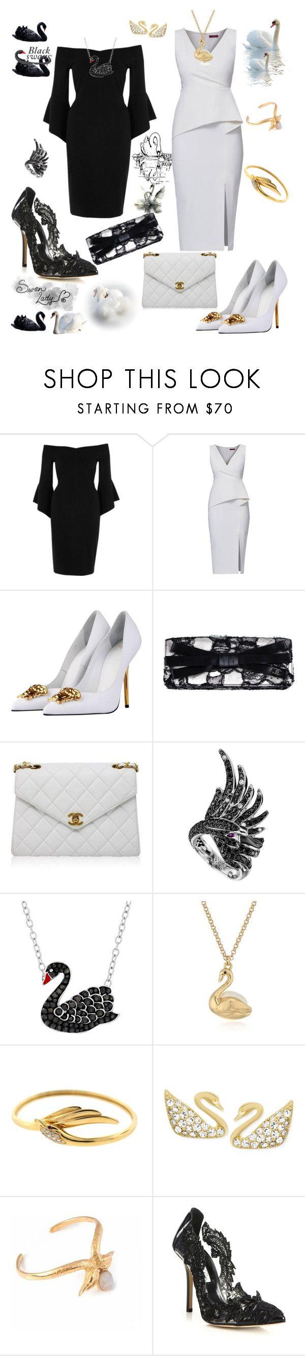 """Black swan and White swan affair"" by agnesmakoni ❤ liked on Polyvore featuring River Island, WtR, Versace, Chanel, Boucheron, Animal Planet, Kate Spade, Swarovski, LeiVanKash and Oscar de la Renta"