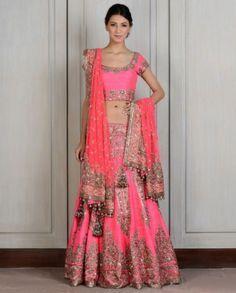 manish-malhotra-bridal-lehenga-indian-wedding-2015-2016-latest-pink-fuchsia-embroidery-tassles-heavy