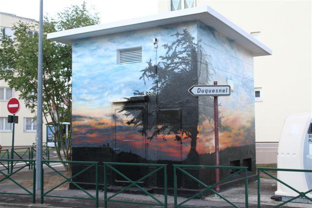 Wall in Beaumont sur Oise (France) / #sunrise #art #streetart #sketch #fredml #wall #orange #blue #tree
