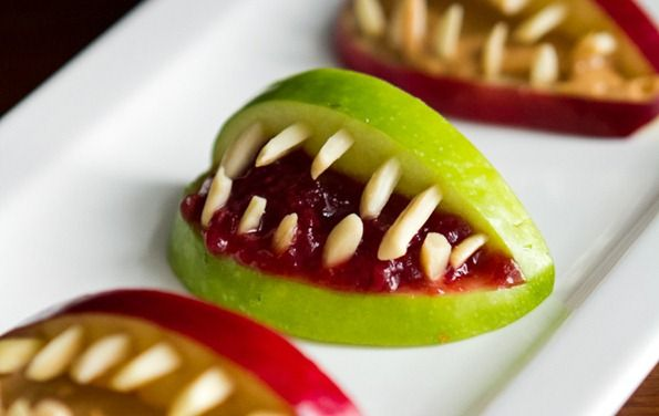 3-Ingredient Halloween Apple Bites from Oh She Glows  #vegan  #vegetarian