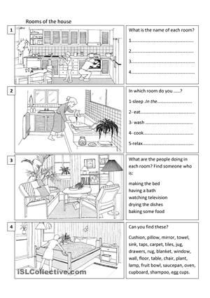 Practise vocabulary of things in the house. As well as naming things in the rooms, students can name what is happening in each room. - ESL worksheets
