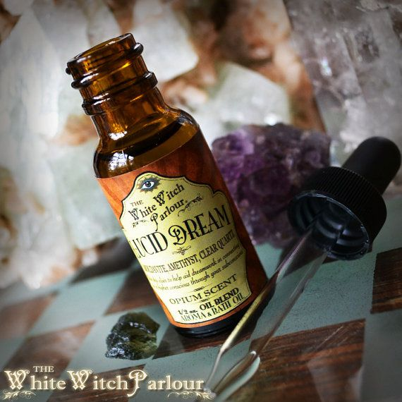 LUCID DREAM Elixir 1/2oz Aroma / Bath Oil. Opium Scent Charged with Amethyst. Moldavite and Clear Quartz Crystals for Astral Projection
