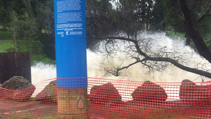 02/10/2017 - MORGAN HILL (KPIX 5) — South Bay water officials are urgently trying to lower a reservoir to reduce pressure on a shaky dam.  The Anderson Reservoir in Morgan Hill is just a couple of miles east of U.S. Highway 101.  The dam is especially vulnerable right now if an earthquake happens to strike.