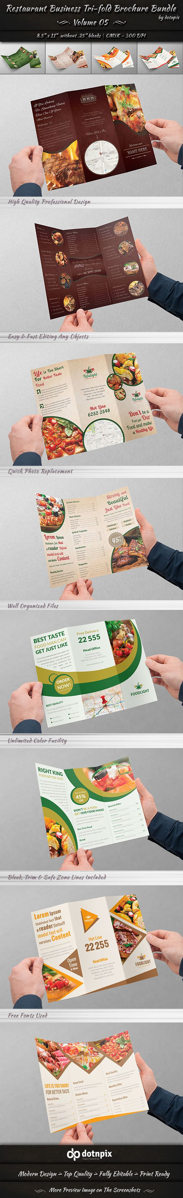 Restaurant Tri-Fold Brochure Bundle | Volume 5 on Behance