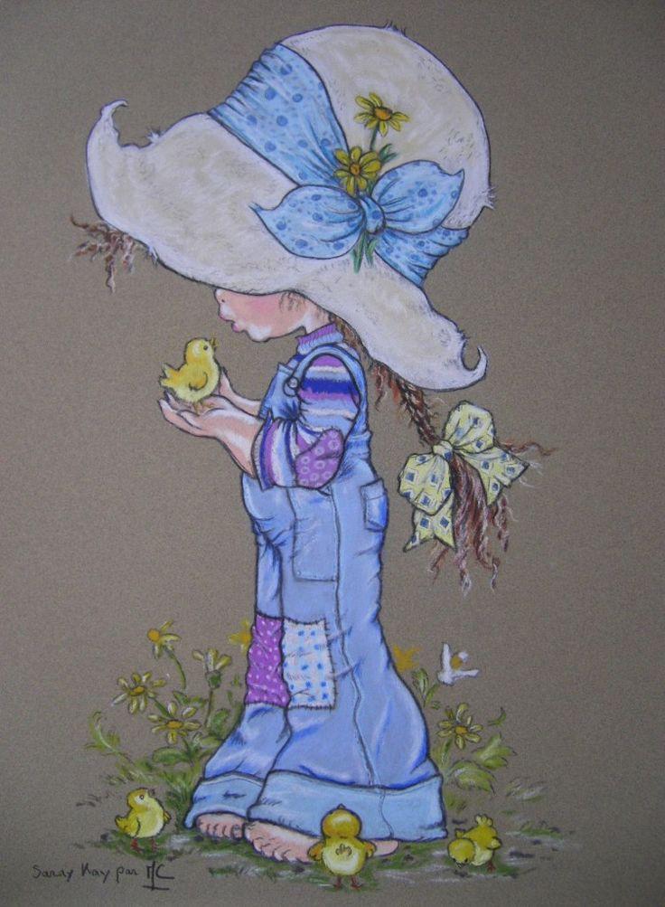 Poussin dessin au pastel sec sur papier pastel card sarah kay enfant vintage illustration - Dessin au pastel sec ...