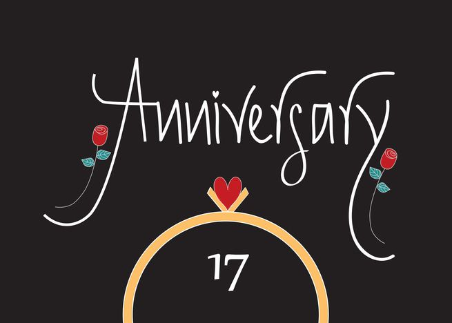 17th Wedding Anniversary Wedding Rings Heart And Red Roses Card Ad Sponsored Anniversary Congratulations 17th Wedding Anniversary 9th Wedding Anniversary