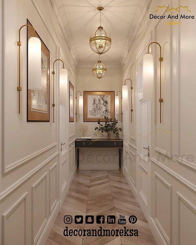 Reposting Decorandmoreksa تزيين ممرات المنزل باسلوب كلاسيكى الجدران بالالوان الهادئة لتزيين ممر المن Home Room Design Decor Home Living Room Luxury Homes
