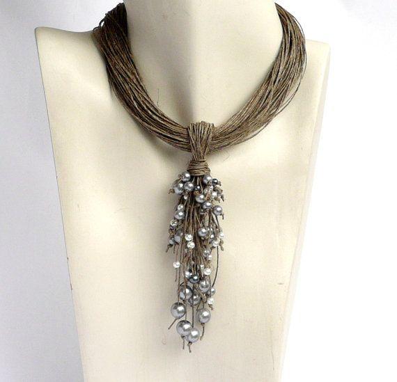 Linen Necklace natural Linen necklace Necklaces jewelry eco jewelry natural…