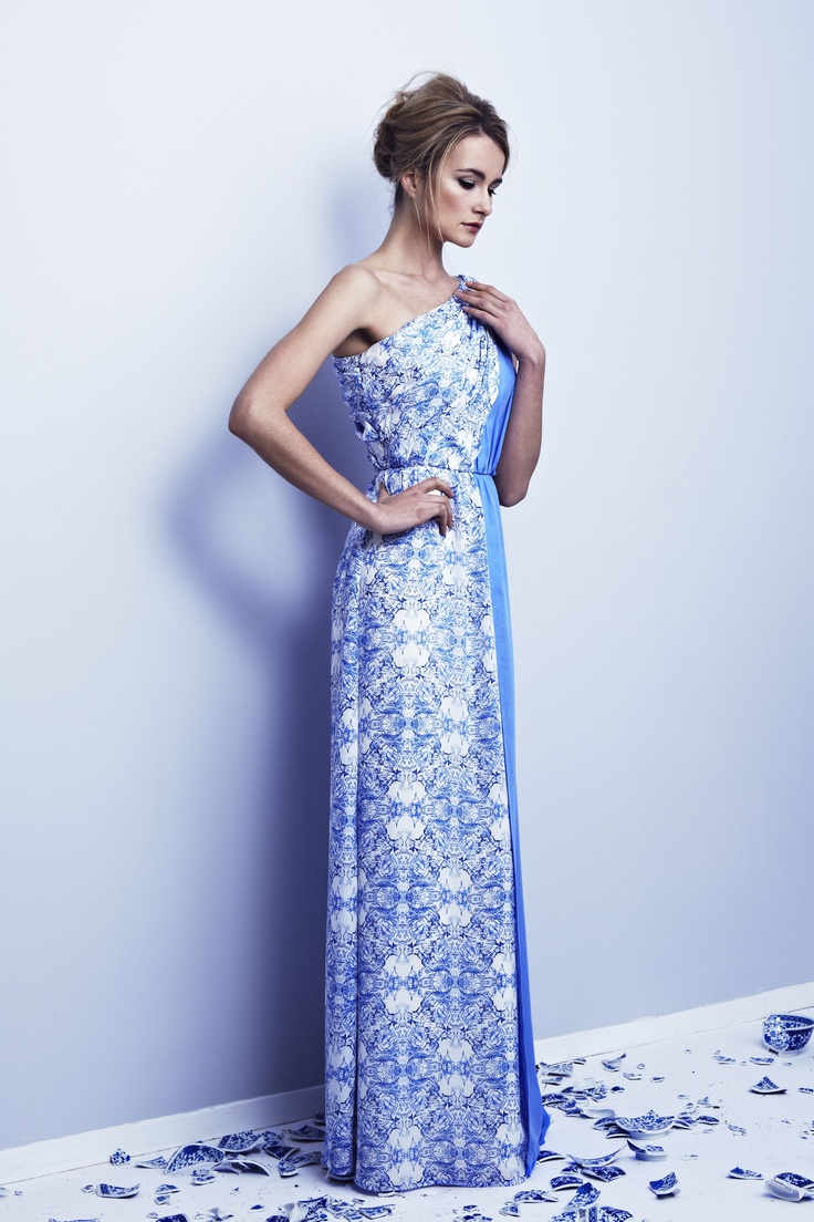 Porcelain print and hydrangea blue double georgette one shoulder Ava gown with shirred panel detail