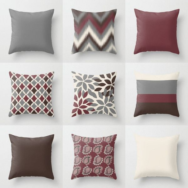Throw Pillow Covers Wine Grey Beige Brown 18 Cushion Covers Accent... ($29) ❤ liked on Polyvore featuring home, home decor, throw pillows, decorative pillows, grey, home & living, home décor, brown throw pillows, outdoor screen and gray accent pillows