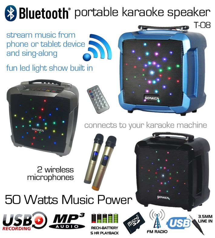 T-08 Powered Karaoke Speaker with 2 Wireless Microphones, Vocal Record, and LED Lights, Perfect for Home and connecting to tablet or phone and sing-along to Karaoke Apps or You Tube Videos