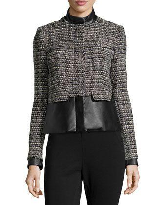 Faux-Leather Trim Tweed Jacket, Black/White by Catherine Catherine Malandrino at Neiman Marcus Last Call.