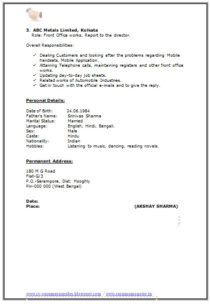 Resume Format For MA Experience (2)