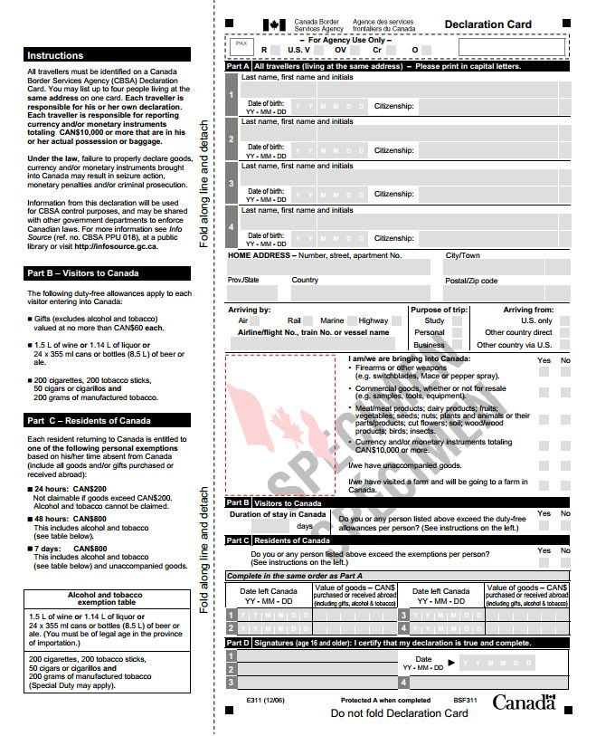 Canada Border Services Agency Declaration Card Aviation