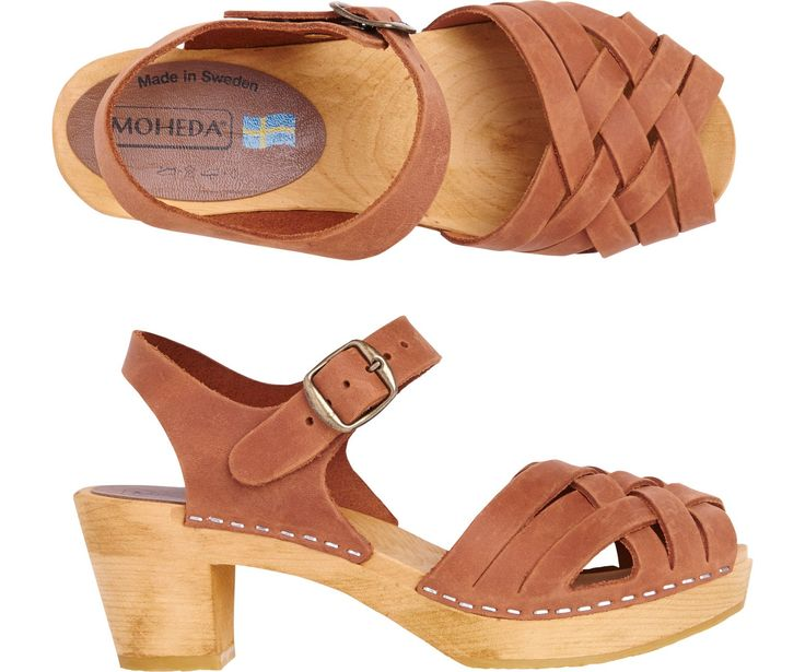 Women's Leather Wooden Moheda Sandal | Toast - classic, a bit of heel, perfect smart/casual shoe for any occasion