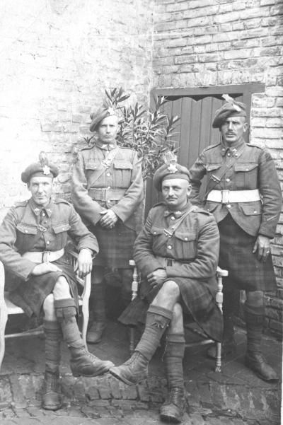 85th Bn CEF Nova Scotia Highlanders , left to right, James Roy, Chester Wood, Sidney Hale, and Thomas Roy all from Westville ,N.S.