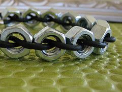 Hex and Leather Bracelet (Blended Jewelry) Tags: silver gold hardware nuts rings bracelet mens bolts brass washers hardwear lobsterclasp hexnuts