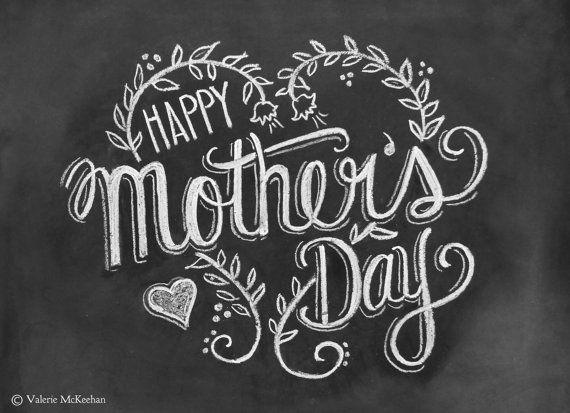 Mothers Day Card - Happy Mothers Day - Chalkboard Art - Blackboard Card - Hand Lettering- Chalk Art via Etsy
