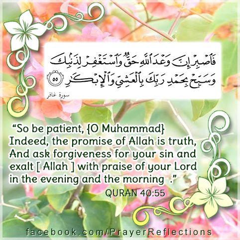 Verses from Quran - So be patient, [O Muhammad]. Indeed, the promise of Allah is truth. And ask forgiveness for your sin and exalt [ Allah ] with praise of your Lord in the evening and the morning. 40:55 #Quran  فَاصْبِرْ إِنَّ وَعْدَ اللَّهِ حَقٌّ وَاسْتَغْفِرْ لِذَنبِكَ وَسَبِّحْ بِحَمْدِ رَبِّكَ بِالْعَشِيِّ وَالْإِبْكَارِ - 50 سورة غافر