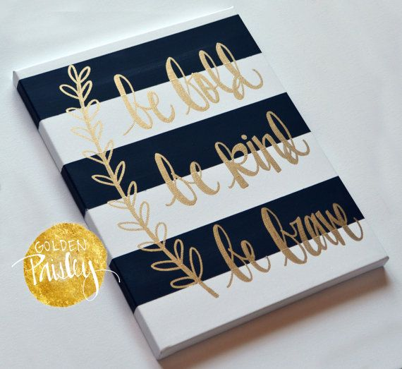 Hand Lettering Inspirational Canvas Painting Canvas Wall Hanging Sign Black Striped Gold Modern Calligraphy Wall Art Wall Decor Home Decor