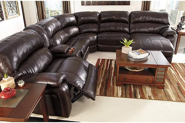 Dark brown damacio 6 piece sectional with power view 4 for Ashley encore grain chaise