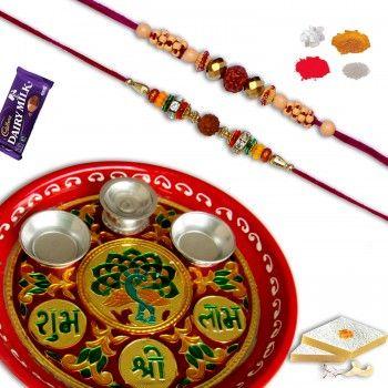 Decorative Rakhi Thali With 02 pc Rudraksh Rakhi @http://www.rakhistoreonline.com/