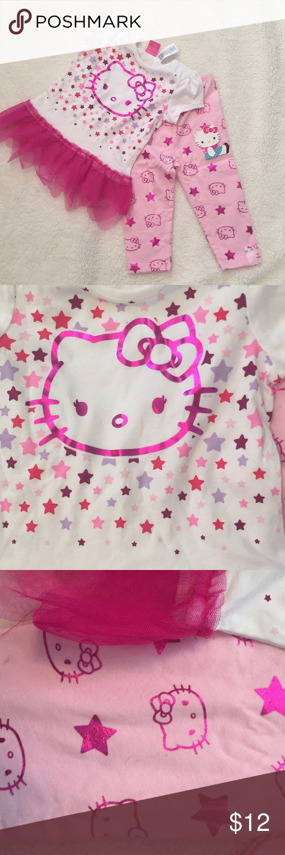 Hello Kitty 2 Piece pants set Size 4T Hello kitty outfit Long pants Short sleeve top Tulle  trim Size 4 t New with tags 60% cotton 40% polyester Hello Kitty Matching Sets