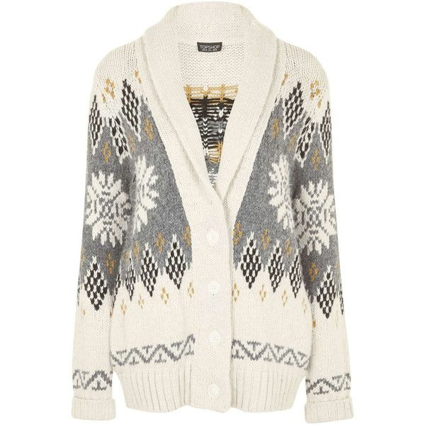 TOPSHOP Starsky Cardigan ($105) ❤ liked on Polyvore featuring tops, cardigans, cream, fair isle cardigan, fairisle cardigan, white cardigan, topshop and white boho top