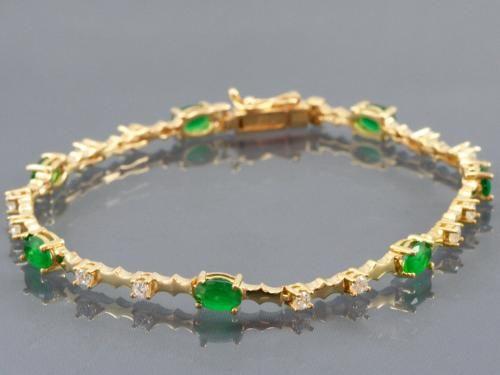 Zümrüt Taşlı Altın Bileklik | Nemoda.com.tr