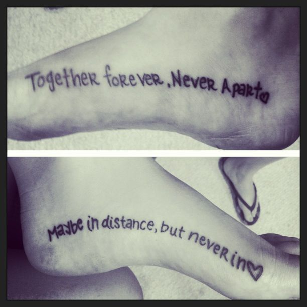 Love my new ink! Distance cannot keep our sisterhood apart! We wrote each others tattoo.
