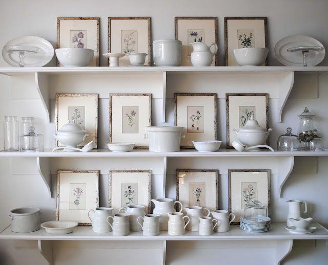 Love the white.Decor, Kitchens, Dining Room, Open Shelves, Botanical Prints, Frames Prints, Display, White Dishes, Frames Art