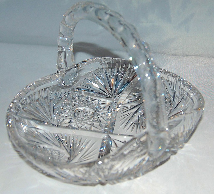 American Brilliant Period Cut Glass Basket circa 1875-1915 Antique from Antik Avenue on Ruby Lane