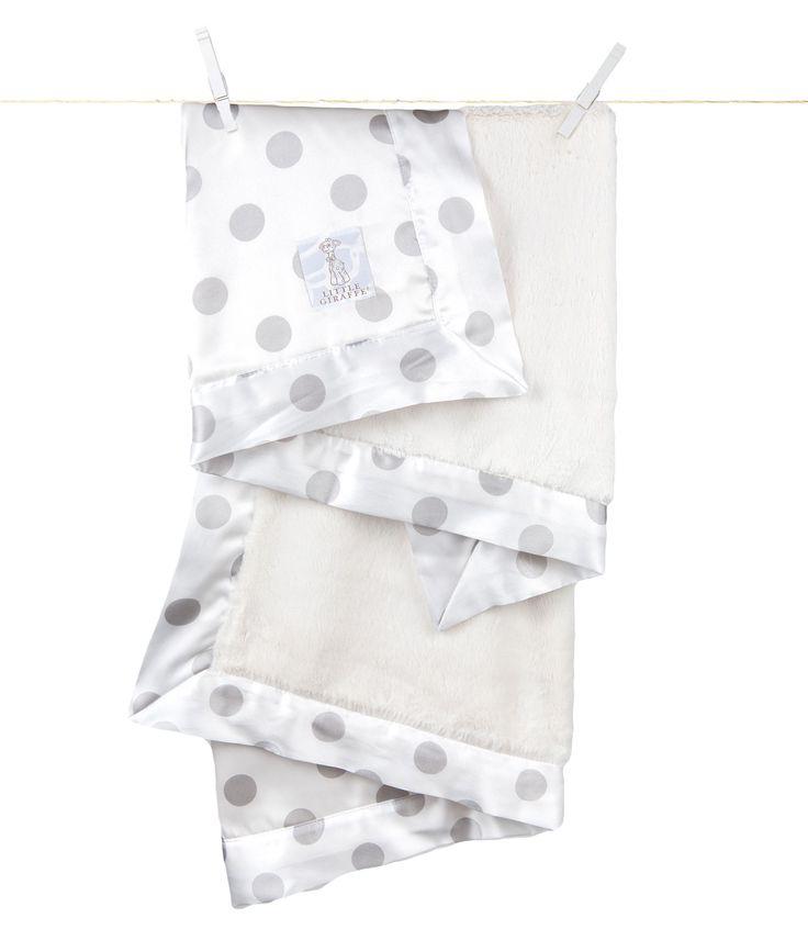 Little Giraffe - Luxe Cream Dot Baby Blanket - Silver