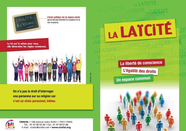 Editées par le CNAFAL, comme supports aux interventions laïques, voici des affiches sur la laïcité à destination des écoles, collèges, lycées, Lycées Professionnels. support Laïcité en PDF ( www.cnafal.org )
