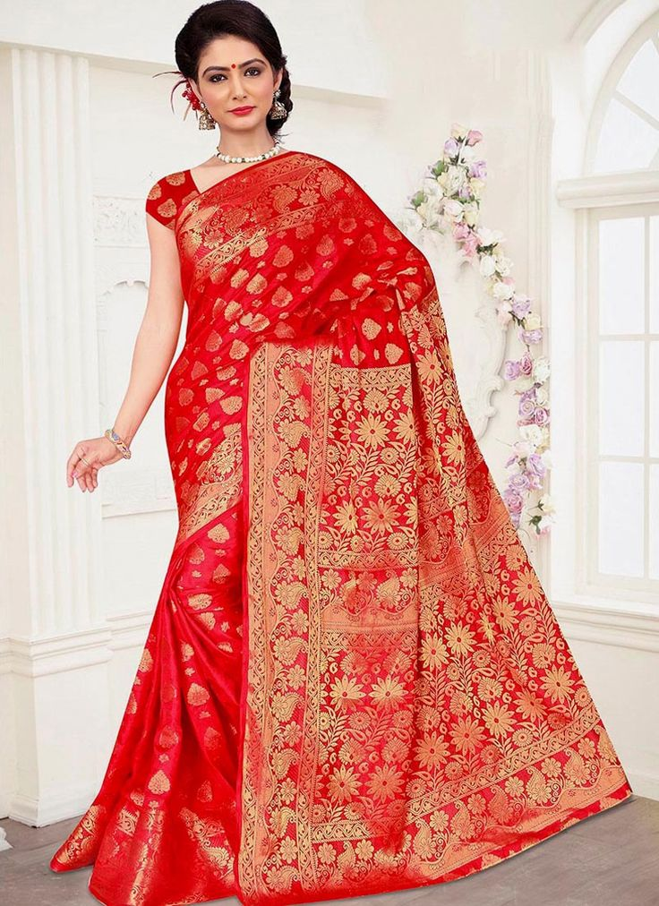 Online shopping for latest collection of designer sarees. Buy this banarasi silk red traditional designer saree for festival, party and wedding.
