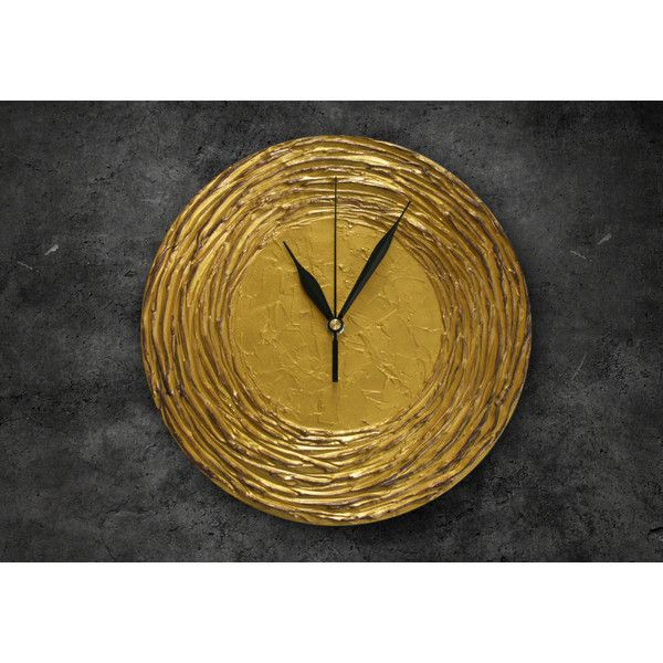 Modern WALL CLOCK, golden wall clock, gold home decor, black gold... ($52) ❤ liked on Polyvore featuring home, home decor, clocks, gold wall clock, modern home accessories, gold home decor, gold home accessories and gold clock