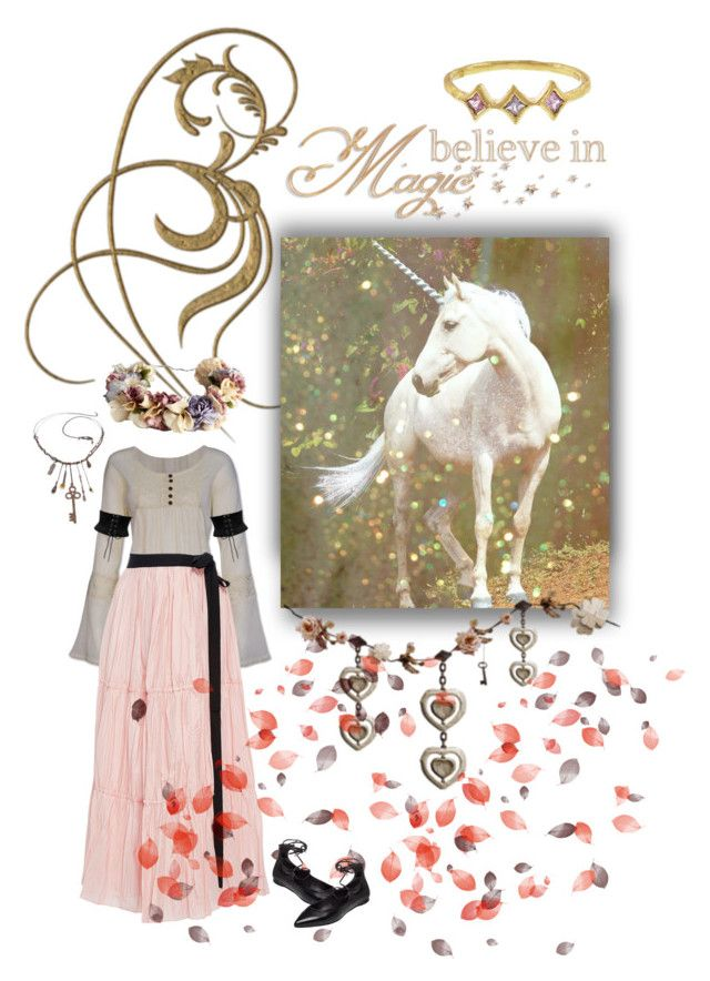 """Walking with a unicorn..."" by savagedamsel ❤ liked on Polyvore featuring Tome, eliurpi, belle by Sigerson Morrison, Cathy Waterman, unicorns, fantasy, fairytale, mythology and myths"