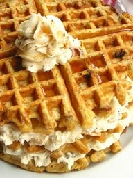 Carrot Cake Waffles with Maple Nut Cream Cheese Spread - perfect for