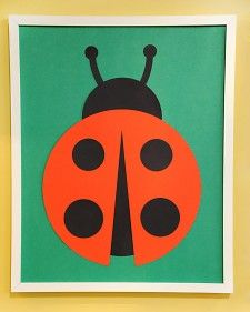 """Make a delightful, easy-to-assemble piece of wall art using creatively arranged paper circles in this how-to from """"The Martha Stewart Show."""": Wall Art, Paper Circles, Ladybug Art, Martha Stewart Crafts, Card, Ladybugs, Arranged Paper, Kid"""