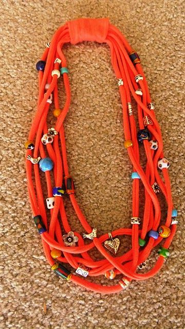 Necklace made from t-shirt yarn--I hadn't even thought of using beads...  :)
